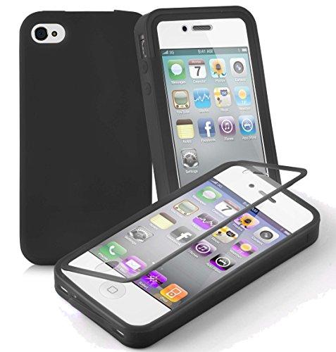 Preisvergleich Produktbild Cadorabo - TPU Silikon Schutzhülle (Full Body Rund-um-Schutz auch für Das Display) für > Apple iPhone 4 / iPhone 4S < in Oxid-SCHWARZ