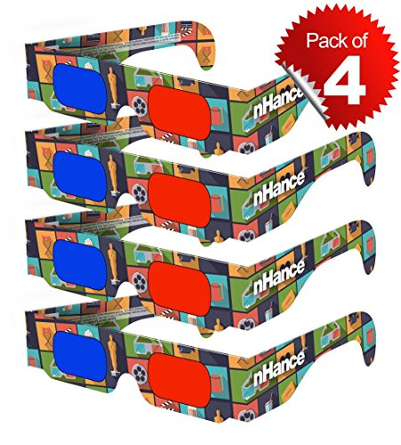 DOMO RB1B nHance 3D Glasses for Mobile Phone, Computer, Laptop, TV, Projector for Anaglyph 3D Video Passive Cyan and Magenta Red & Blue Paper 3D Glasses (Pack of 4 pcs)  available at amazon for Rs.129