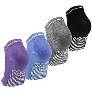 Calzini Antiscivolo Donna 4 Paia Calze Sportive per Yoga Pilates Danza Fitness Arti Marziali Ginnastica Barre Calzini Antiscivolo in Cotone Grip Socks Adulti