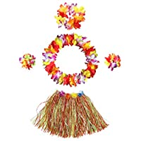 InnoBase Hawaiian Hula Grass Skirt with Flower Leis Costume Set Elastic Grass and Flower Bracelets Headband Necklace for Luau Beach Party Dance Favors Women