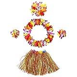 InnoBase Hawaiana Falda de Hierba con Flores Hula Lei Guirnalda Kit Falda de Hierba Elásticas y Flores Pulseras, Diadema, Collar para Luau Beach Hawai Costumes Accesorios Party