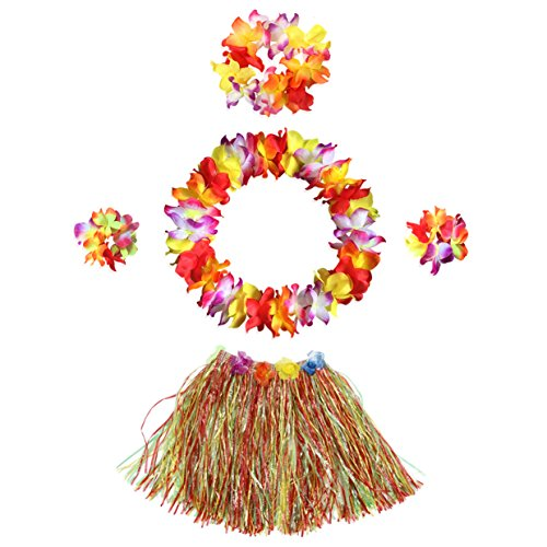 InnoBase Hawaiian Hula Grass Rock mit Blumen Leis Kostüm Set Elastische Grass und Blumen Armbänder Stirnband Halskette für Luau Beach Party Dance Gefälligkeiten Kostüm Frauen