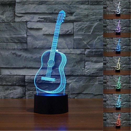 Lampe 3D ILLUSION Lichter der Nacht,KINGCOO Verstellbar 7 Farben LED Gitarre Acryl Licht 3D Creative Berührungsschalter Stereo Visual Atmosphäre Tisch,Geschenk für Weihnachten