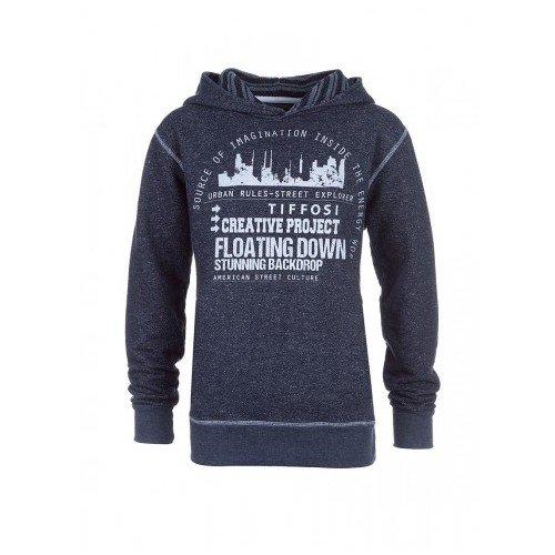 Felpa con cappuccio Tiffosi per bambini e ragazzi grigio con logo urbano del 8al 14anni grigio 10 Anni