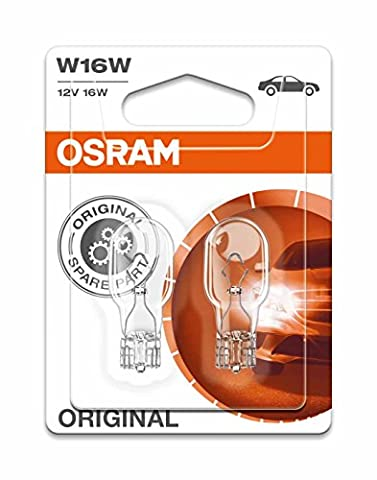 Osram Original Equipment quality W16W-921 bulbs in a twin blister pack