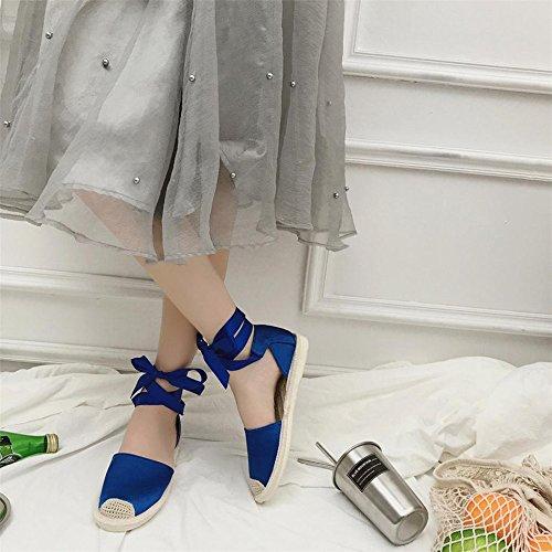 Longra Donna Fascia femminile di paglia estate poco profonda bocca pedale pigra piatta piano cinturino Blu