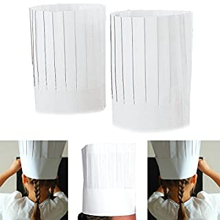 Adorox 10 White Disposable Kitchen Cook Chef's Hat Cap, 9-Inch (White (10 Hats))
