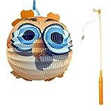 Bid Buy Direct®, lanterne di carta decorative con belle fantasie, bastone porta lanterne e luce, ideali per feste di compleanno, matrimoni o per festeggiare la nascita di un figlio Owl