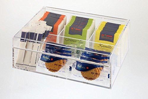 (APS 11563 Teebox / Multibox, 22 x 17cm, H: 9cm, Acryl, 3 Fächer für kuvertierte Teebeutel und ein, Universal-Fach aufklappbarer Deckel)