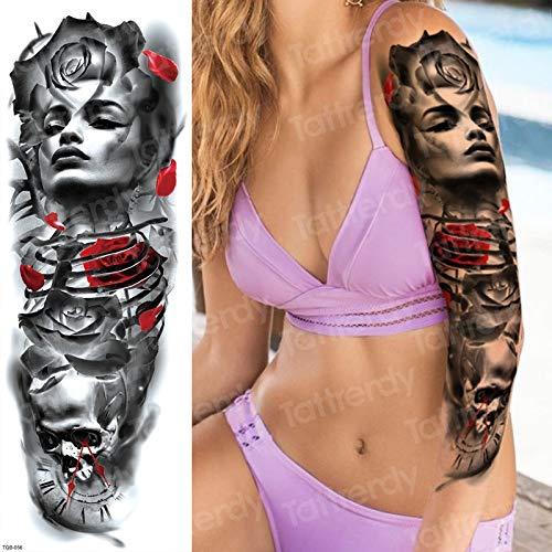 Tzxdbh impermeabile tatuaggi temporanei uomini cranio rose tatuaggi robot meccanico tatuaggio donne faccia adesivi tatoo acqua tatoo impermeabile