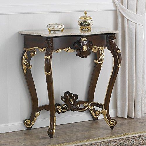 Consola tocador estilo barroco italiano de madera. Encimera de marmol blanco. Edición de lujo con detalles dorados.