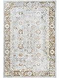 Benuta Viskoseteppich Yuma Taupe 160x230 cm - Vintage Teppich im Used-Look