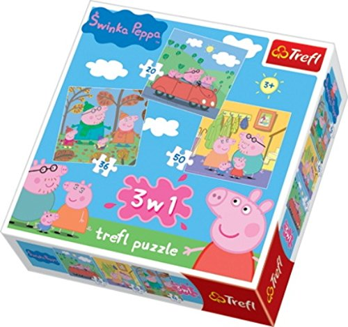 Trefl 34057 - Puzzle 3-in-1, Peppa Pig (Peppa Pig Adventure)