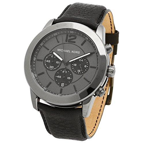Michael Kors MK8434 - Reloj cronógrafo para hombre, acero inoxidable, piel negra, color negro