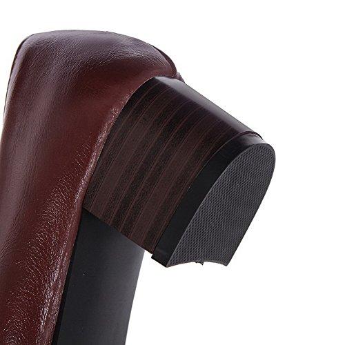 VogueZone009 Femme Pointu à Talon Correct Matière Souple Tire Chaussures Légeres Rouge