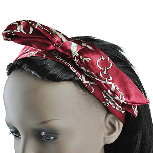 Cloud9basic Retro Chain Rope Printed Wire Headband, Flexible Hairband, Size: Widest part width - 10cm, Bow part-5cm