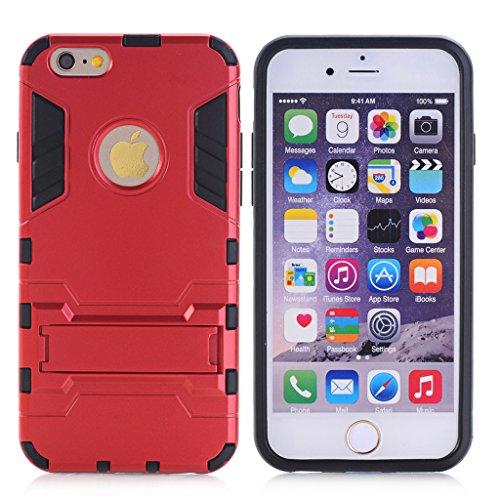 Cuitan 2 in 1 Dual Layer Hybrid Schutzhülle für iPhone 5S / 5 / 5G, TPU Weich Bumper und PC Harte Rückseitige Abdeckung Built-in Ständer Design Rüstung Hülle Handytasche Tasche Case Cover mit Toch Pen Rot