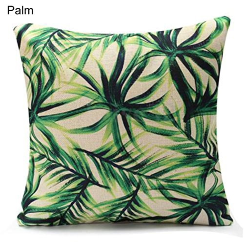 Amesii 45,7cm grün Leaf Leinen Kissenbezug Werfen Kissen Fall Sofa Home Dekoration Palm (Palm Nackenrolle Kissen)