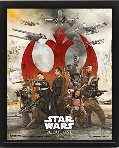 Preisvergleich Produktbild 1art1 105556 Star Wars - Rogue One, Choose A Side 3D-Poster (gerahmt) 25 x 20 cm