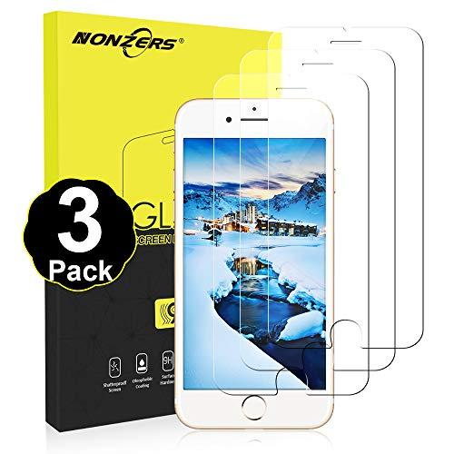 NONZERS Vetro Temperato per iPhone 7 / iPhone 8,[3 Pezzi] 9H Durezza Pellicola Vetro,Senza Bolle Facile Installazione,Anti-Olio,Anti-Impronta, Anti Graffio,Pellicola Protettiva per iPhone 7 / iPhone 8