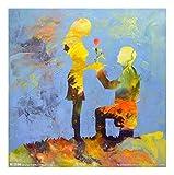 ZXJYH Reine Handgemalte Abstrakte Kreatives Paar Vorschlag Muster Öl Malerei Sofa Im Wohnzimmer An Der Wand Malen Rahmenlose Home Deko Wandbild, 50 X 50 cm