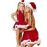 Goosuny Damen Mädchen Kind Weihnachten Einfarbig Bandage Ärmellos Weihnachtskleid Partykleider Mutter Und Tochter V Ausschnitt Weihnachten Abendkleider Festliche Kleider Knielange(Mutter,L)
