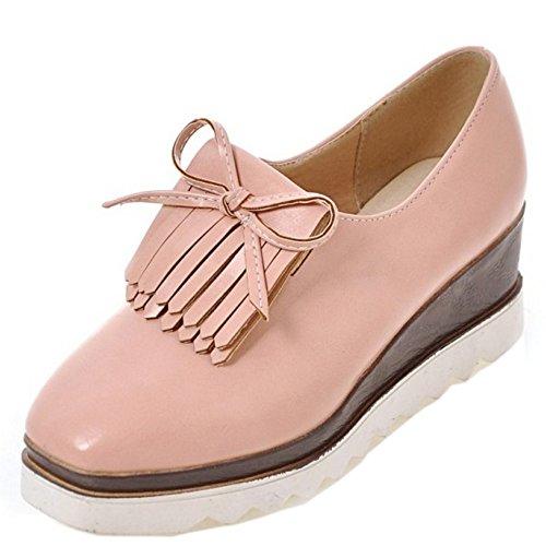 TAOFFEN Damen Mode-Event Plateau Keil Hoch Absatz Shoes Schlupfschuhe Quasten Pumps-Shoes Pink