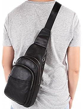 Gendi Herren Vintage Echt Leder Umhängetasche Sling Brust Taschen Crossbody Wandern Satchel Coole Kleine Rucksack...