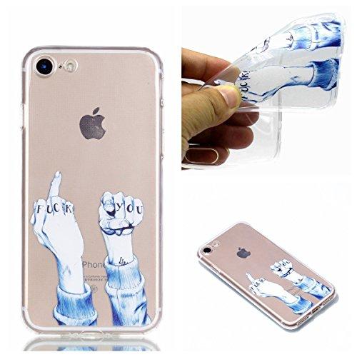 Cozy Hut iPhone 7 Plus / 8 Plus Schutzhülle, Ultra Slim Transparent/Schützend/Weich/Ultra Hybrid/Schock Absorption/Kratzfest Backcover Hülle für iPhone 7 Plus / 8 Plus - Mittelfinger und Faust