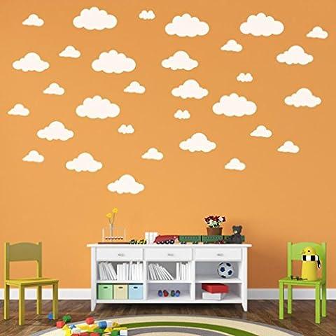 hunpta 31pcs/Set DIY grands nuages 4-10 pouces Wall Sticker amovible mur de vinyle autocollants pour enfants chambre décoration art (Blanc)