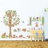Decowall DM-1601P1603 Rotkäppchen Groß Baum im Wald Waldtiere Tiere Wandtattoo Wandsticker Wandaufkleber Wanddeko für Wohnzimmer Schlafzimmer Kinderzimmer