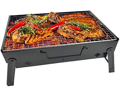 RIGMA Tragbarer Grill-Kohlegrill - zusammenklappbar und leicht, kompakter Grill - Edelstahl-Transporttasche für Camping, Picknicks, Rucksackreisen, Survival, Notfallvorbereitung (klein und groß) (Grill-transporttasche)