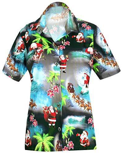 Schwarzes Hawaii-aloha-shirt (HAPPY BAY Aloha Party Hawaii Bluse Top-Frauen Shirt Weihnachten WEIHNACHTSMANN Jingle Bells Weihnachtsbaum Schwarz_AA97 L - DE Größe :- 46-48)