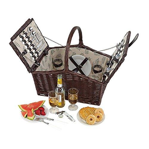 Picknickkorb 4 Personen Campingkorb Edelstahl Besteck Innenfutter aus 100% Leinen Picknickbedarf