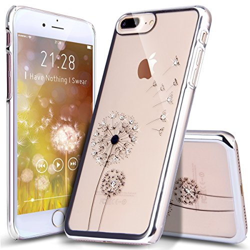 iPhone 8 Plus Hülle,iPhone 7 Plus Hülle,ikasus® iPhone 7 Plus Hardcase Hülle [Kristallklar Durchsichtig],Malerei Dandelion Löwenzahn Pusteblume Muster Glänzend Glitzer Kristall Strass Diamanten Überzu Dandelion:Silber