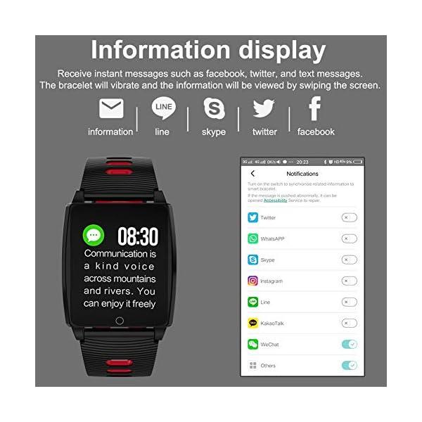 SmartWatch, Padgene Reloj Inteligente IP67 Impermeable Bluetooth Pulsera Actividad Deportiva Múltiples Lenguajes con Pulsómetro Monitor de Sueño, Música, Notificación de Llamada Mensaje para Android e iOS 7