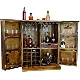 Rootwood Wooden Brown Bar Cabinet with Wine Glass Storage   Teak Finish