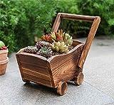 Danmu Art Holz Wagon Blume Übertopf Outdoor Garten Terrasse Pflanzgefäß Innen und Außenbereich Decor