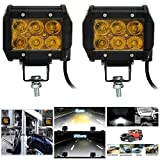 #4: Andride 6 LED Fog Light / Work Light Bar Spot Beam Off Road Driving Lamp 2 Pcs 30W Cree,Universal Fitting hence Good Fit LED Work Lights for Royal Enfield, Truck, Car, ATV, SUV, Jeep all Bikes and Cars (Amber Yellow)