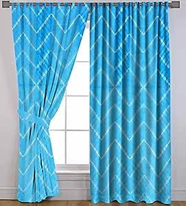 "Turquoise Cotton Window Valances Door Hanging Shibori Tie Dye Waves Treatment Door Wall Curtains Tab Top 2 PC 82"" x 84"" by Handicraft-Palace"