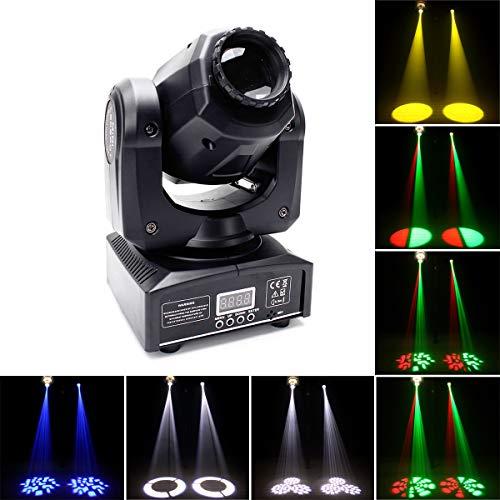 Moving Head Bühnenlicht 40W LED Partylicht 8 Gobos 8 Farbe und Halbe Farbe Lichteffekt gesteuert durch DMX512 Sound Automatische Modi für Party DJ Show Bar Bühnenbeleuchtung UKing (1 Stück)