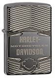 Zippo H-D-Armor (PVD Black Ice), Accendino Antivento, Ricaricabile a Benzina Unisex Adulto, Nero, Regular 5.7 x 3.7 x 1.2 cm