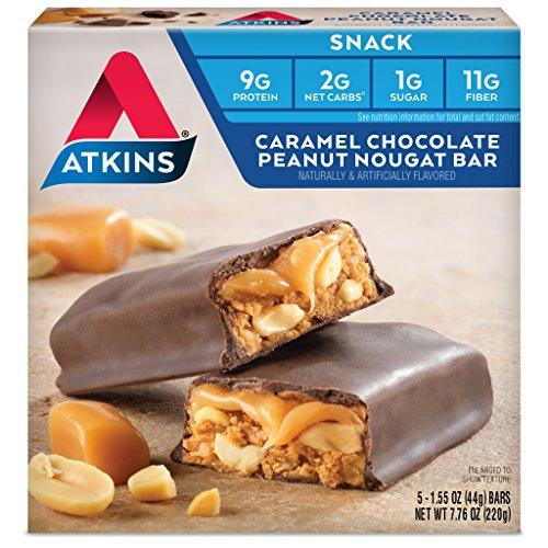 Atkins Vorteil, Caramel Schokoriegel Erdnuss Nougat, 5 Bars, 1,6 oz (44 g) jedes - Atkins Karamell