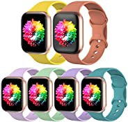 SWHAS 6 Pack Sport Bands Compatible with Apple Watch Band 38mm 40mm 42mm 44mm, Soft Silicone Replacement Strap