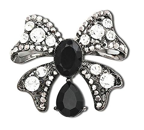 Gnzoe Bijoux, Femme Broche Faux Diamant Bow-Knot Forme De Mariée Mariage Broche Pins la Mariée Pour Mariage Noir