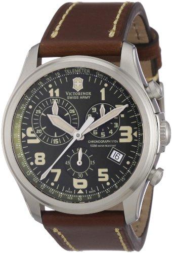 Victorinox Classic 241287 – Reloj cronógrafo de cuarzo para hombre, correa de cuero color marrón