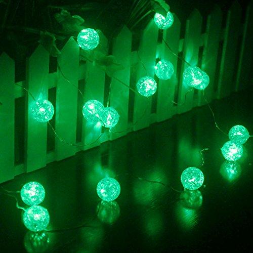 Ryham Batteriebetriebene Kristallkugel-Schnur-Licht 16 LED 7.38ft 2.25m Fairy Globe Blase Dekor Beleuchtung für Outdoor Indoor Patio-Party Vorhang Schlafzimmer Weihnachten Saisondekorationen , (Halloween Hof Dekor)