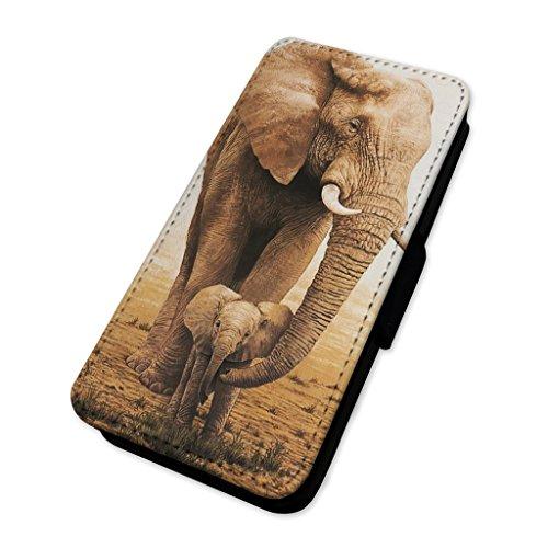 Liebenswürdig, Elefant & Kalb–Flip Case Wallet Cover Card Holder Apple Iphone 5/5s/SE (Kalb-taste)