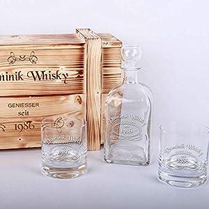 Whisky-Geschenkset in Holzkiste mit Gratis-Gravur - 2 Whiskygläser + Whiskyflasche + Gravur als Geburtstagsgeschenk   Männergeschenke (WL1)