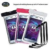 pinlu® 3 Pack IPX8 Wasserdichte Tasche, für Smartphones bis 6 Zoll, für Wiko Pulp Fab 4G, Wiko Pulp 3G, Wiko Pulp 4G, Wiko Rainbow 3G, sandproof Protective Shell -Schwarz+Weiß+Rosenrot